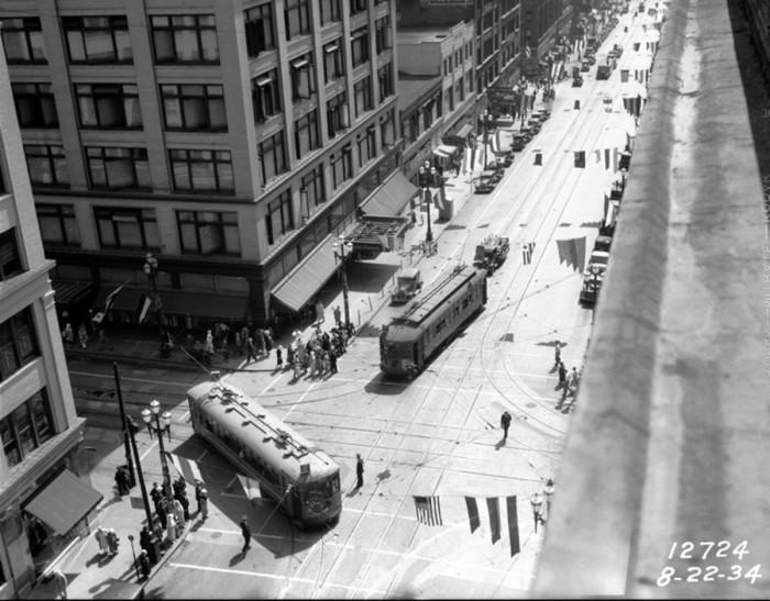 4. The corner of Second Ave and Pike Street downtown, 1934.