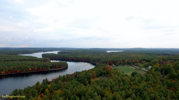 8. The river's leisurely path through New Hampshire is clear from the air.