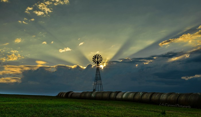 5. Hay bales and a windmill? Yep, that's a Nebraska skyline, all right.
