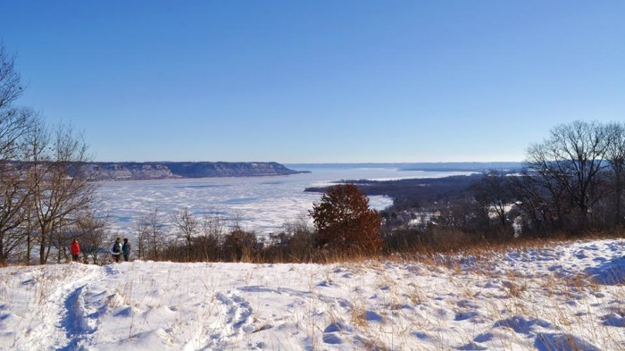 7. Frontenac State Park is known for its beautiful bluffs along the Mississippi, but below you can find some amazing sledding too.