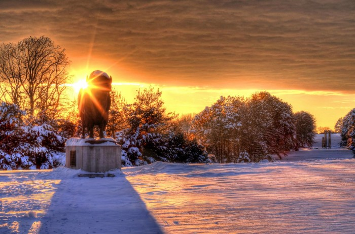 11. A sunset in Lincoln's Pioneers Park turns this statue into part of the colorful skyline.