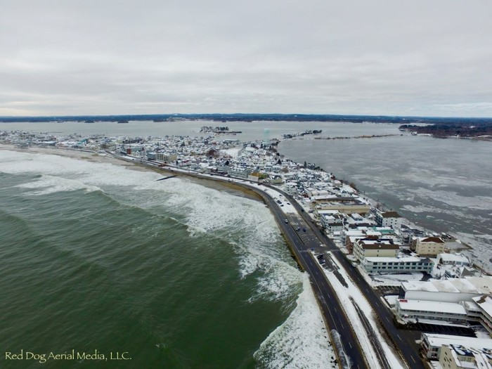 3. Hampton beach looks more like an island during a particularly high tide.