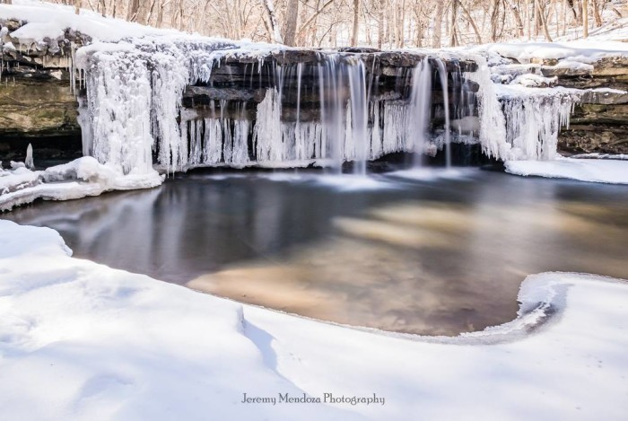 Platte River State Park has some great photo opportunities, like this frozen waterfall...