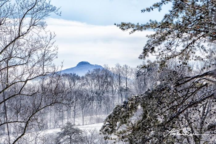 2. A snowy Pilot Mountain scene. Breathtaking!