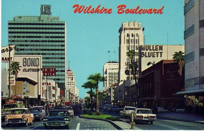 1. Postcard capturing the Miracle Mile District along Wilshire Boulevard in Los Angeles in the 1960s.