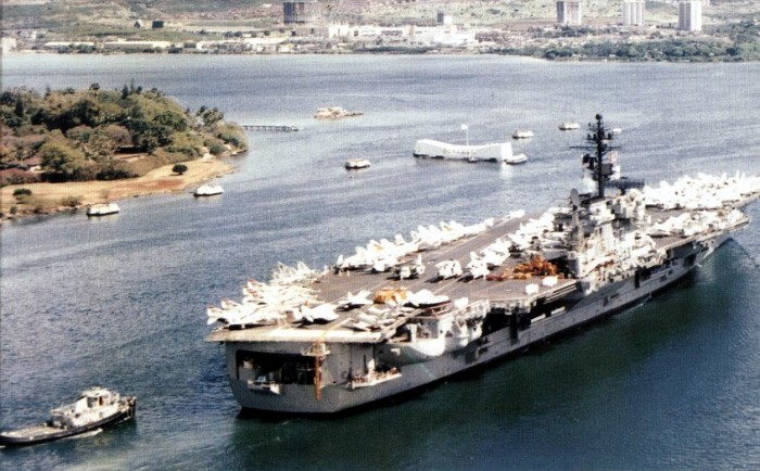 13. The USS Kitty Hawk at Pearl Harbor in April 1975, before being deployed in the West Pacific from May to December of that year.