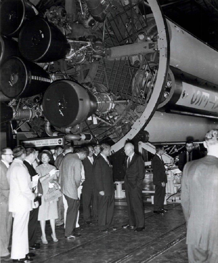 8. This photo, taken on September 8, 1960, shows President Dwight D. Eisenhower visiting Huntsville, Alabama to dedicate a new NASA field center in honor of General George C. Wallace, his wartime colleague.