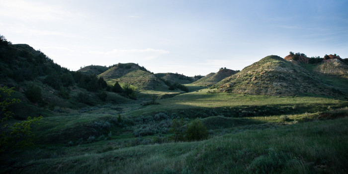 9. Green rolling hills in Teddy Roosevelt Backcountry.