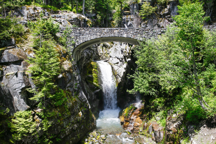 15. The beautiful arch bridge makes this waterfall easily distinguishable.