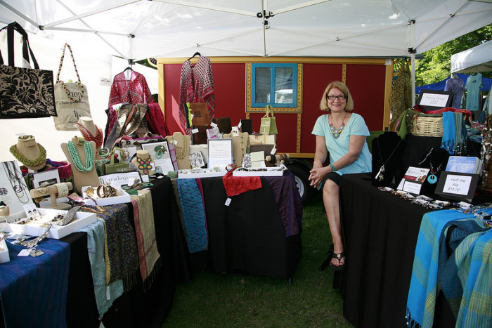 Browse the work by local artists and taste samples of fresh fare.