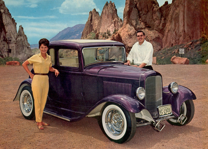 """9. """"Verlin Lawson with Denise Williams & his '32 Ford coupe at Garden of the Gods, 1964."""""""