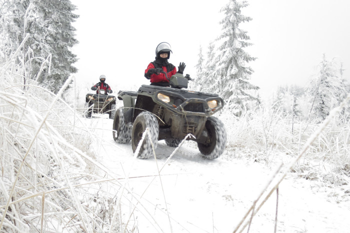 6. We all drive ATVs to work.