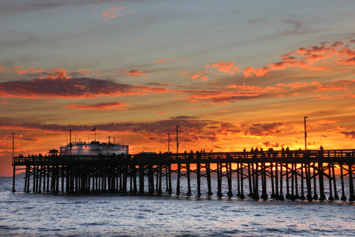 11.  Relaxing on the Balboa Pier in Newport Beach at sunset.
