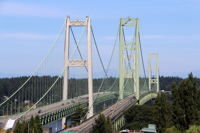 14. This pair of suspension bridges span over Puget Sound in Pierce County.