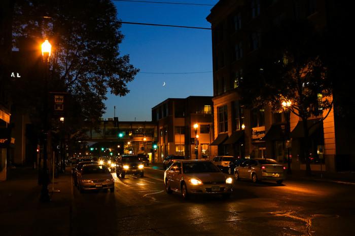 7. Nighttime city scene in Grand Forks, ND.