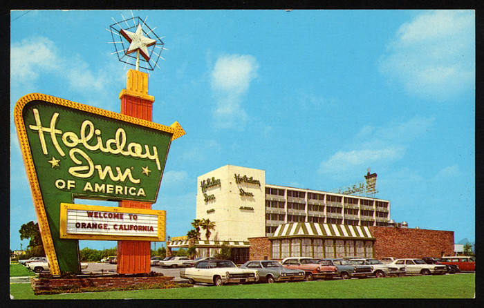3. Orange, CA in 1967. Remember those old Holiday Inn signs?