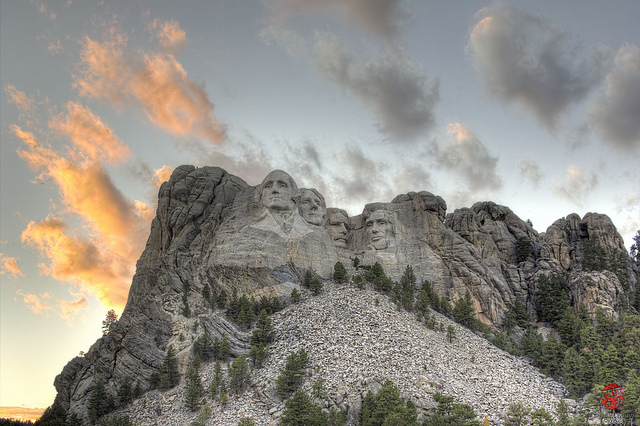 Mount Rushmore with painted sky