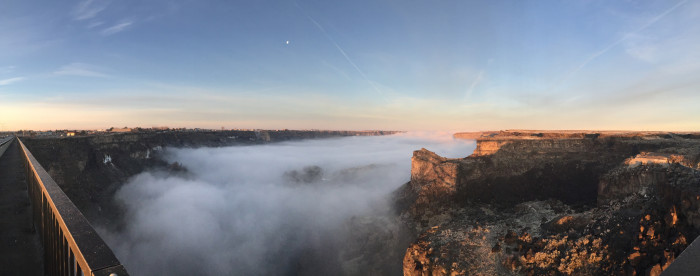 12. Fog rising out of the Snake River Canyon is especially mesmerizing when viewed from the Perrine Bridge.