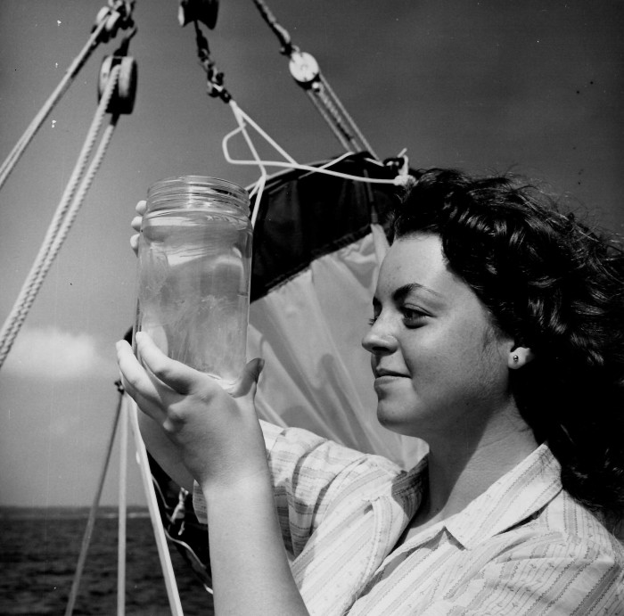 12. A scientist tracking changes in the Chesapeake Bay water quality. Photo taken in 1955.
