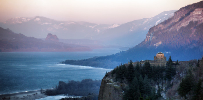 5. A purple, wintery sunset at the Columbia River Gorge: