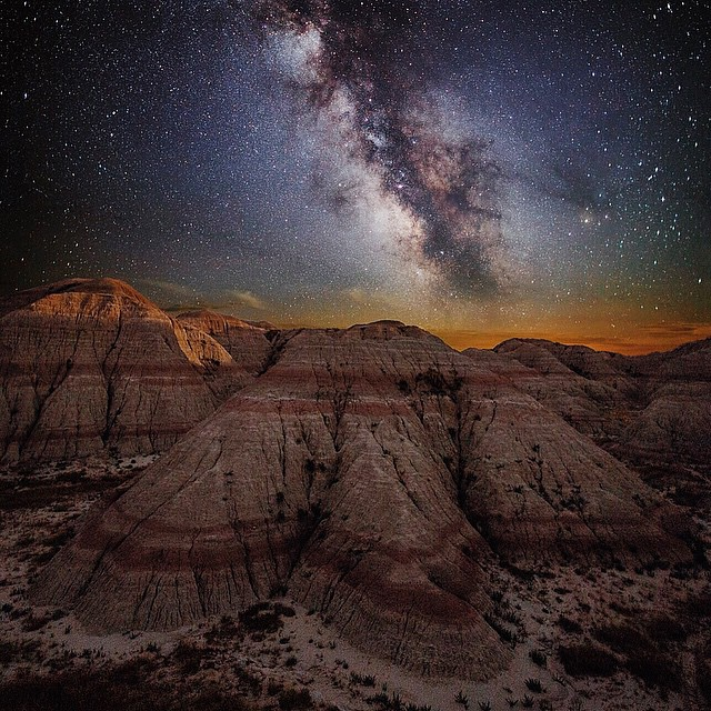The Badlands under a Starry Sky - photographed at night