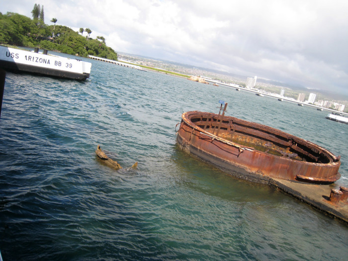 "17) The day before the attack on Pearl Harbor, the USS Arizona filled up with 1.5 million gallons of fuel and, according to the History Channel, the sunken ship ""continues to spill up to nine quarts of oil into the harbor each day."""