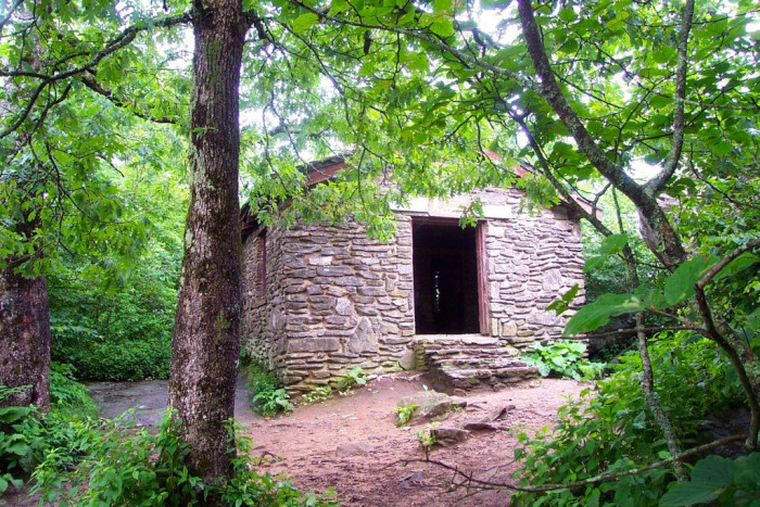 The hiker's shelter at the top of the mountain is maintained by the Georgia Appalachian Trail Club.