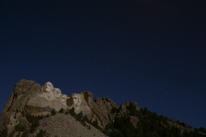 Mount Rushmore by the Light of a Full Moon - photographed at night