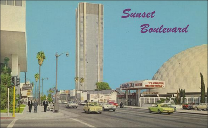 2. Sunset Boulevard in Los Angeles. A rare glimpse of the first high rise on the strip.