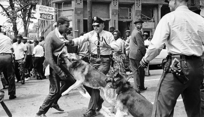 3. A 17-year-old civil rights demonstrator, seen here defying an anti-parade ordinance in Birmingham, Alabama, is attacked by a police dog on May 3, 1963.