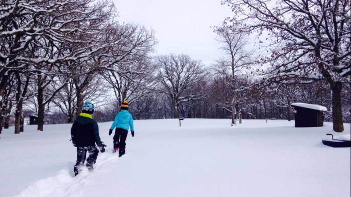 5. Kilen Woods is full of pristine snow and has beautiful rolling hills for some great sledding!