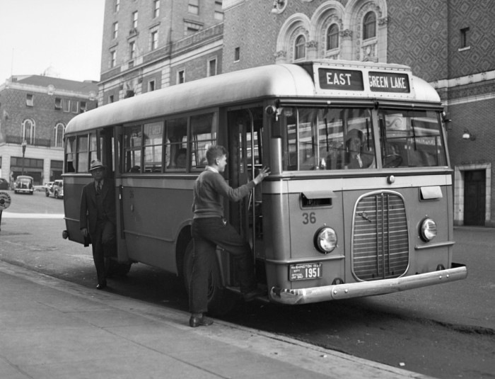 5. Hopping on the bus to East Green Lake, 1937.
