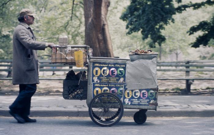 8. A 1970s vendor strolling through New York's Central Park.