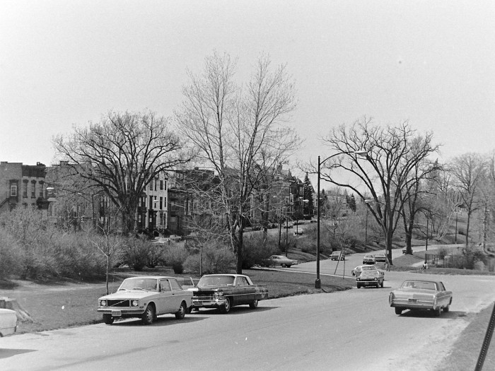 7. Just a small piece of what there is to see, pictured above are the cars of New York's residents parked inside Washington Park in 1973.