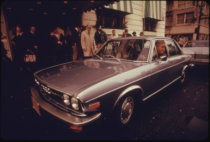15. Governor Tom McCall in his new car, 1974.