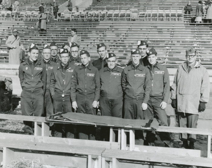 16. These explorers were on duty at the U of M stadium as fire guards and the emergency service first aid squad in 1957.