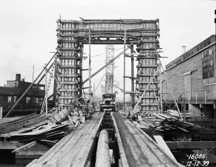 9. The Ballard Bridge under construction, 1939.