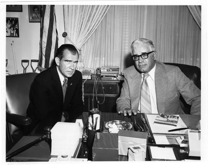 2. Mayor Russell C. Davis is photographed with an unidentified man in August of 1972.