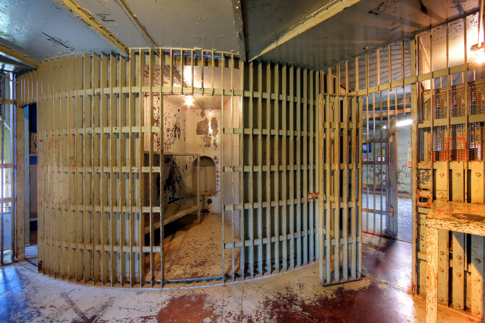 The jail was a revolutionary design - literally. The jail was made up of several pie-shaped cells that actually revolved inside of a cage.