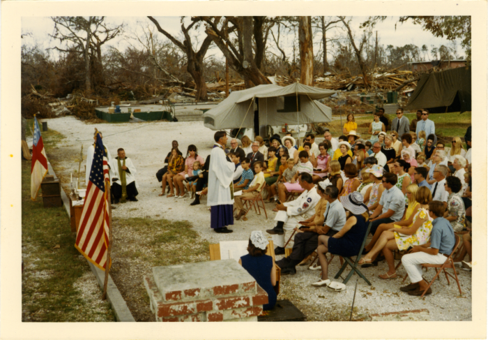 2. An impromptu church service is held on the Mississippi Gulf Coast after Hurricane Camille ravaged the area in August of 1969.