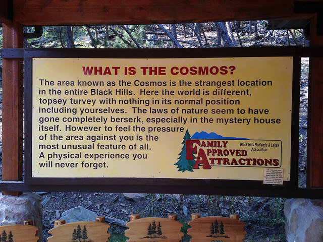 cosmos mystery area welcome sign