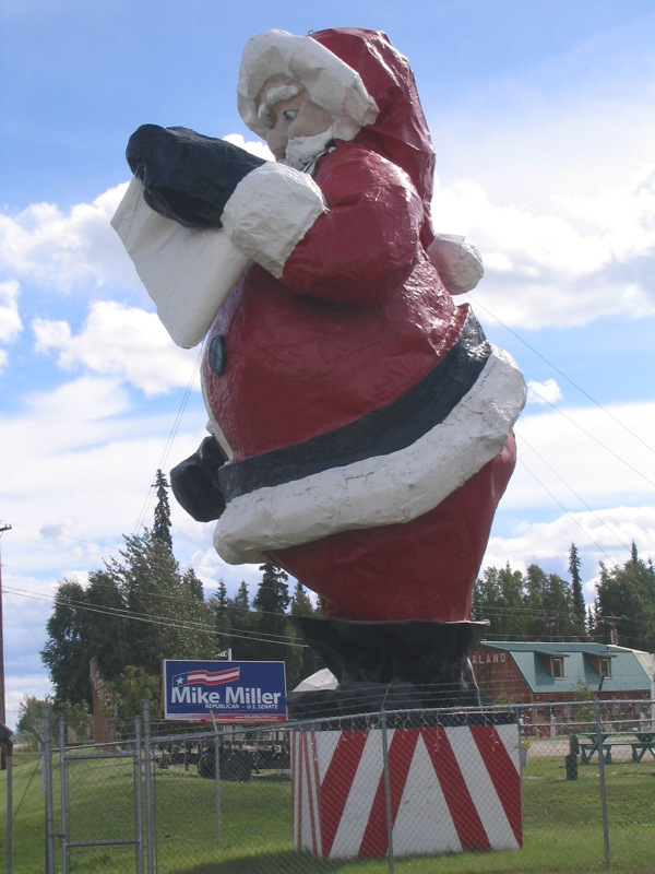 7. It's hard to miss the statue of Santa Claus as you pass through North Pole.