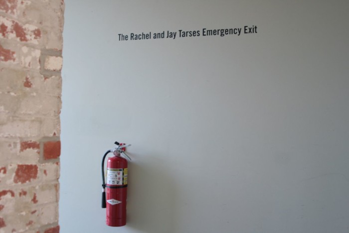 19. I guess their donation check hasn't cleared yet. A very special emergency exit at the Massachusetts Museum of Contemporary Art.