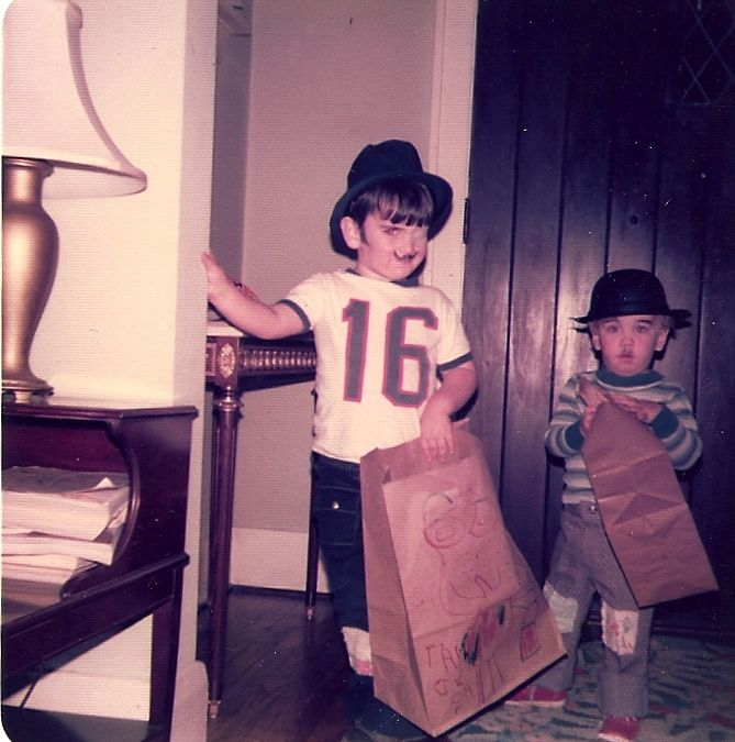 20.  Boys dressed for Halloween as Charlie Chaplin hobos, Kirkwood, 1970s