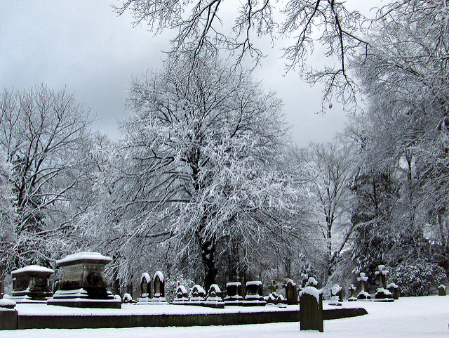 10. Swan Point Cemetery in Providence on a snowy day is beautiful, with a creepy stillness.