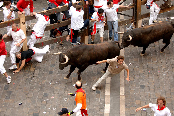 While inspired by the Running of the Bulls in Spain...