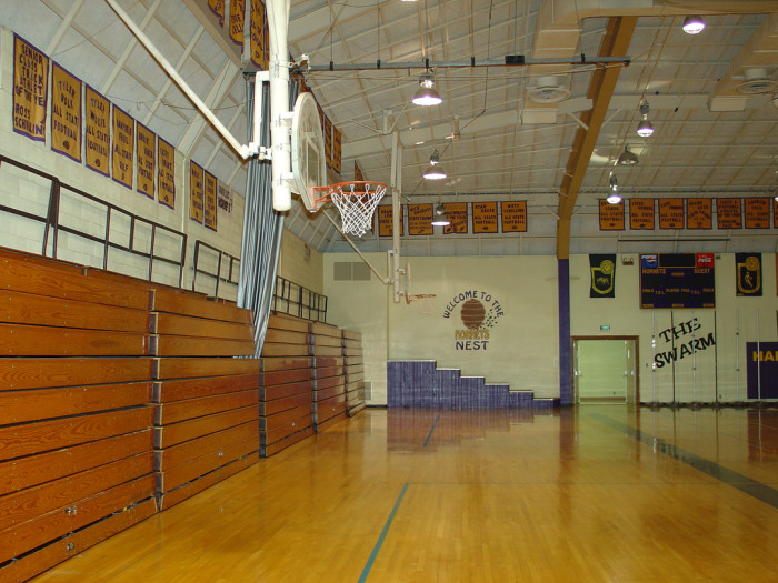 5. Your whole school fit on one side of the gym bleachers for assemblies, with plenty of room to spare.