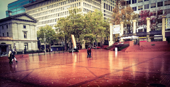 4. This brick-floored landmark in downtown Portland has built-in chess boards.