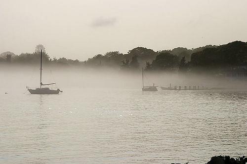 1. The fog rolls across the sound.