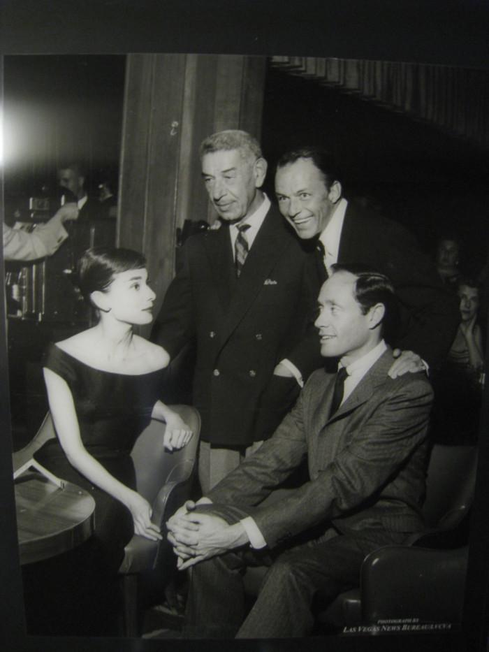 4. Audrey Hepburn, Mel Ferrer, Frank Sinatra and Prince Romanoff at the Sands Hotel in Las Vegas, 1956.